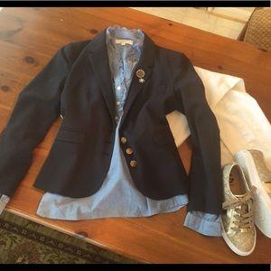 LOFT Ruffled Light Blue Cotton Blouse